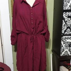 Shirt dress red with a blue stripes 2x from JustFa